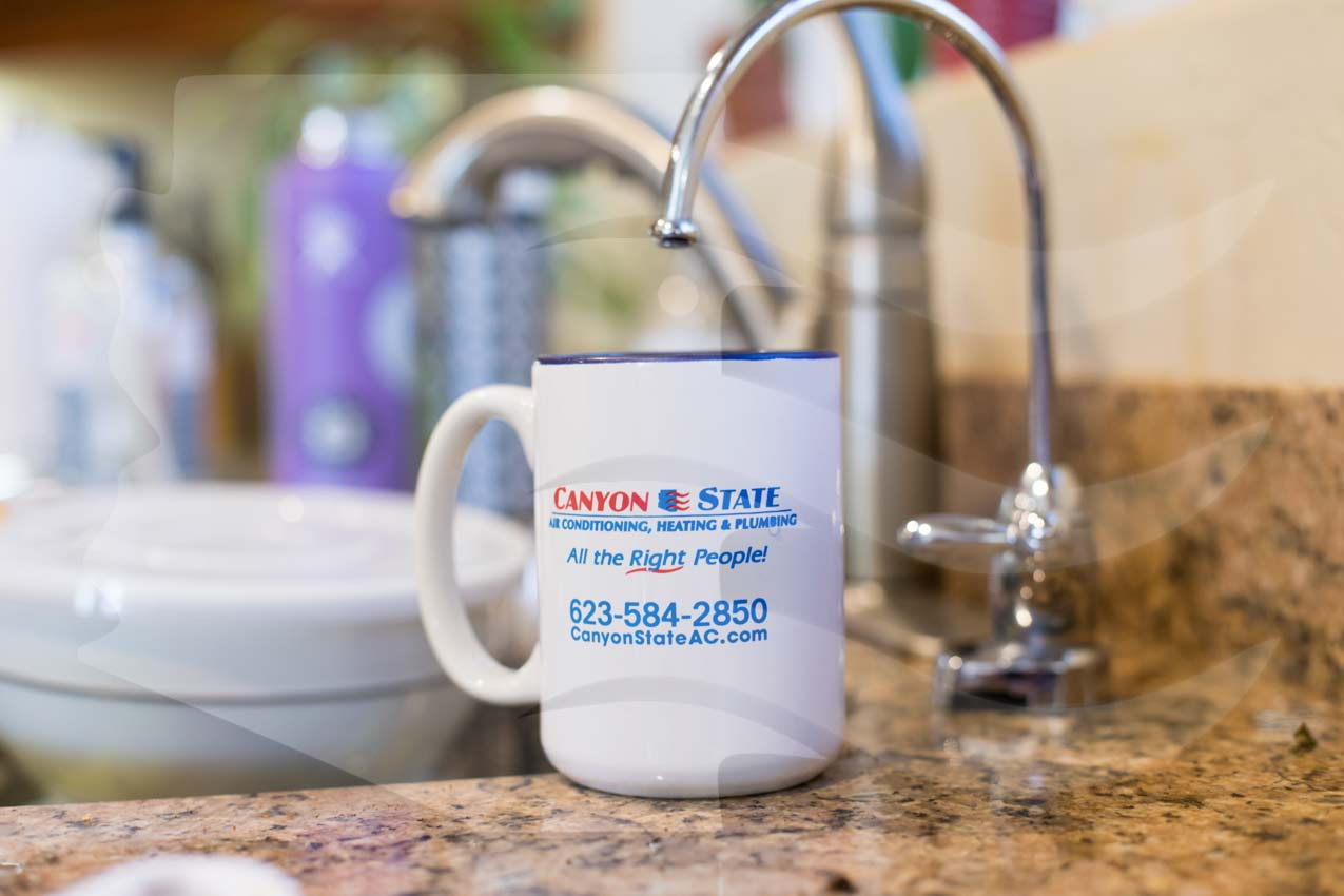 coffee mug with canyon state plumbing company graphics on it under reverse osmosis spigot in kitchen of surprise az homeowner during RO maintenance appointment to change out filters and membrane photo by prefocus solutions dishes in sink window in background