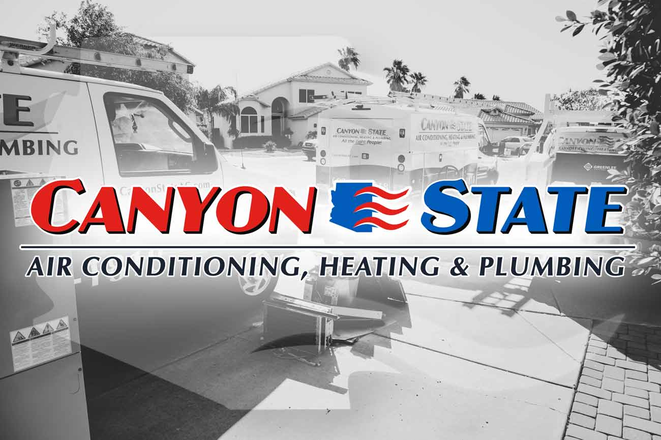 3 canyon state heating and cooling vehicles parked outside surprise arizona residence where they are servicing homeowners furnace that leaks water on floor possible replacement black and white company photo by prefocus solutions