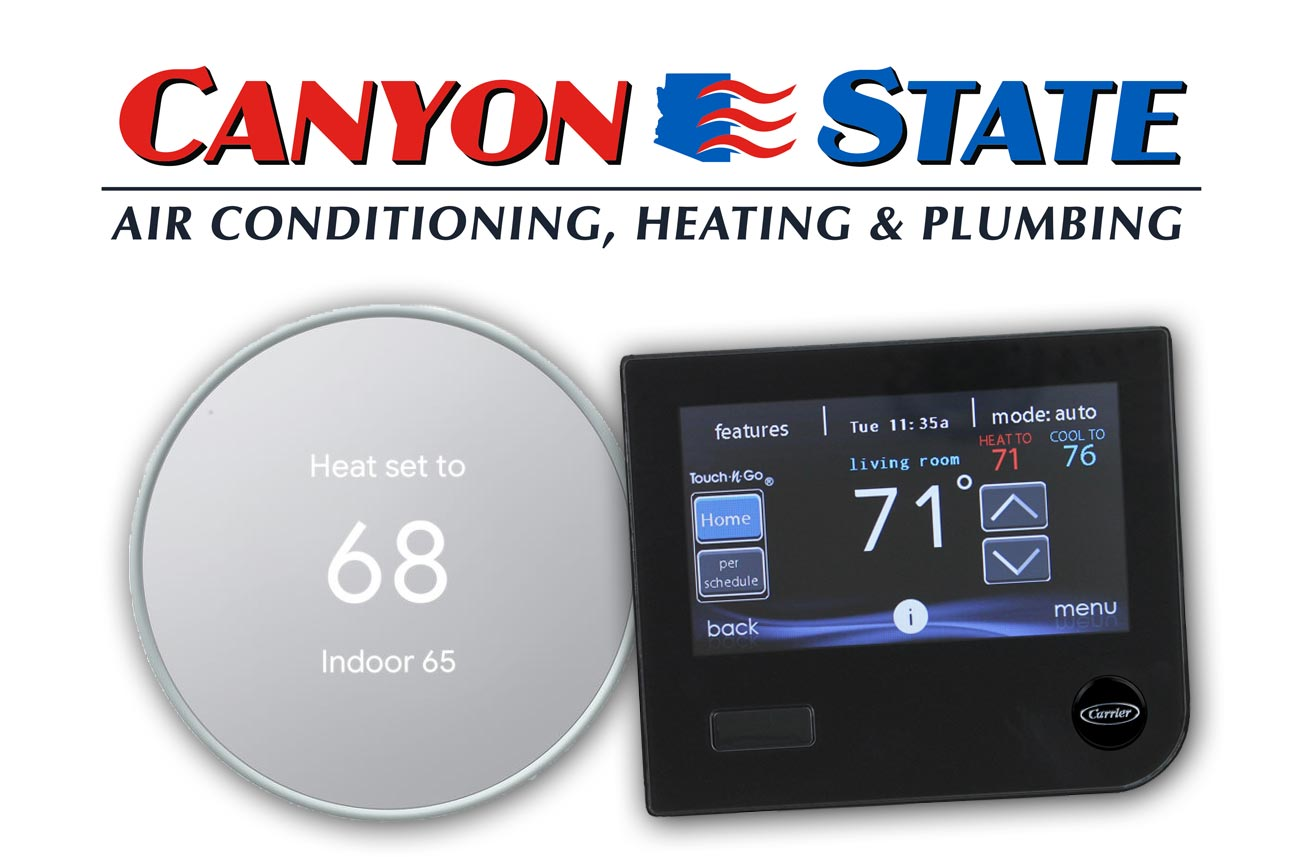 image of canyon state air conditioning heating logo from sun city west arizona with next and carrier's infinity touch control smart thermostats compared for use on your smart device technology in phx